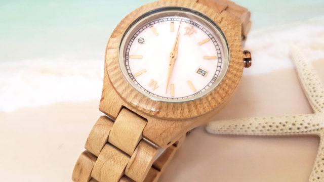 ハワイの木製腕時計ビーン&バニラのウォッチ