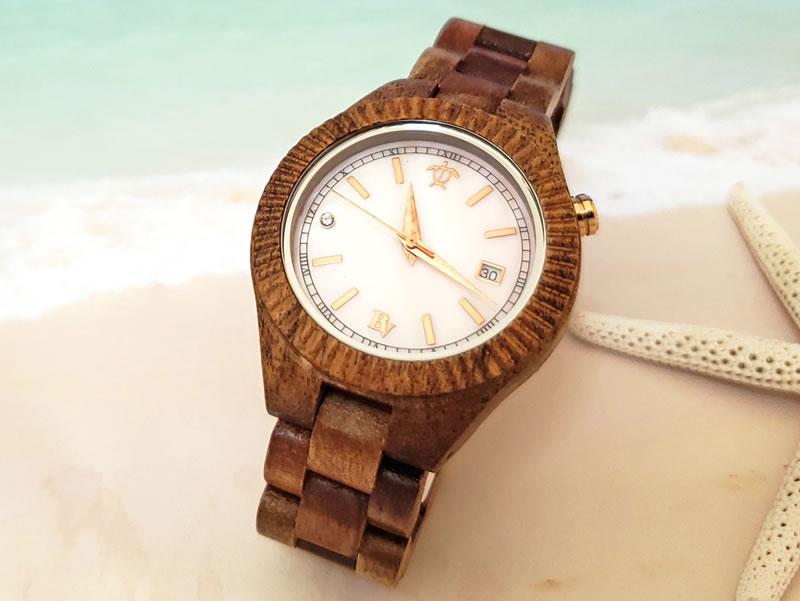 ハワイアン コアウッド製 腕時計 (ハワイ諸島 & ペトログリフ) ウォッチ ビーン&バニラ Bean&Vanilla 軽量 メンズ レディース