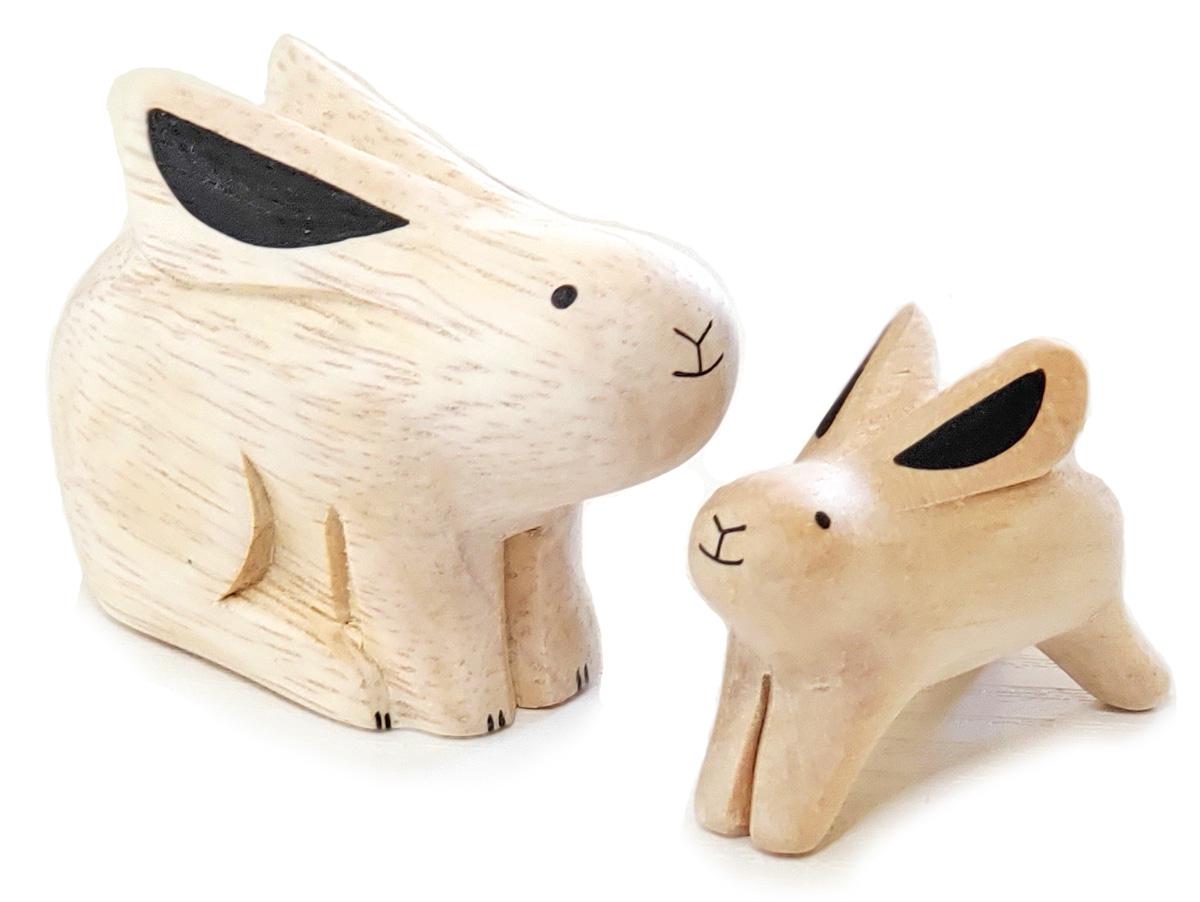 ぽれぽれ動物のインテリア雑貨親子ウサギ