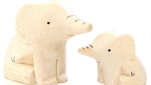 ぽれぽれ動物のインテリア雑貨親子ゾウ